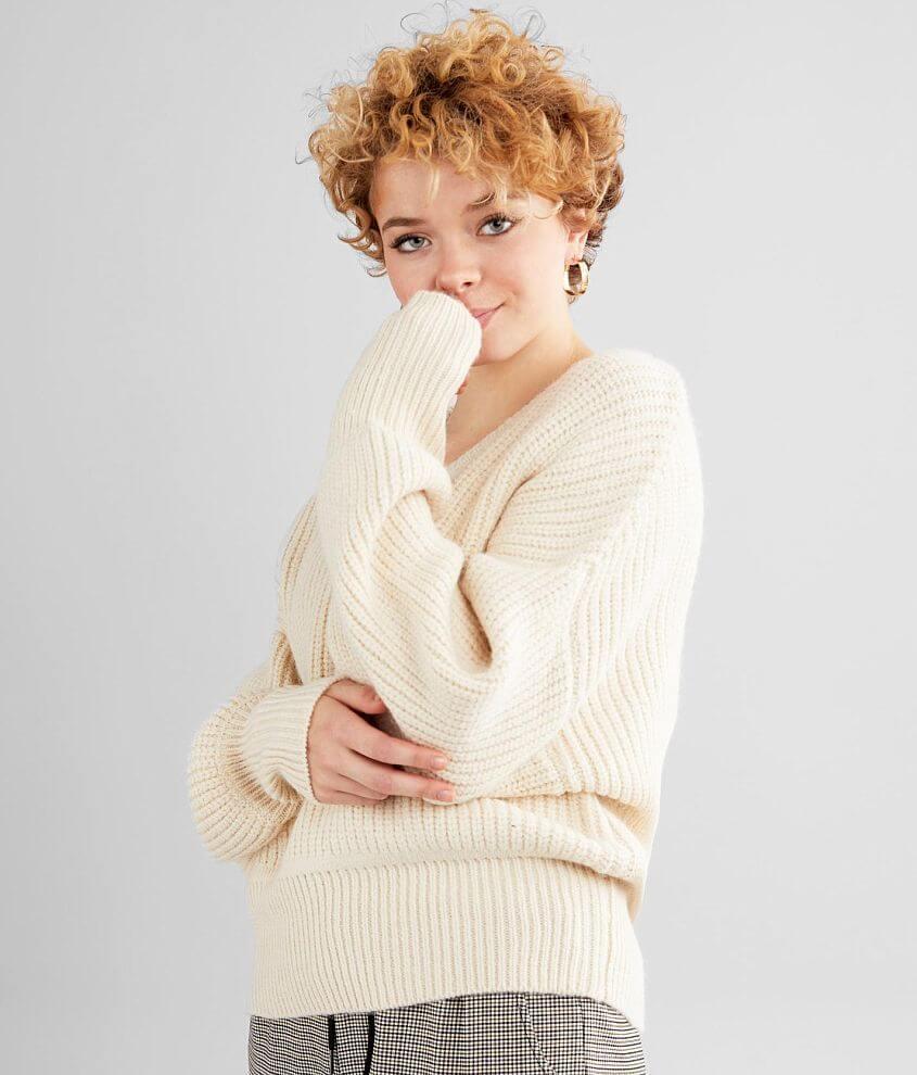 Daytrip Banded Hem Knit V-Neck Sweater front view