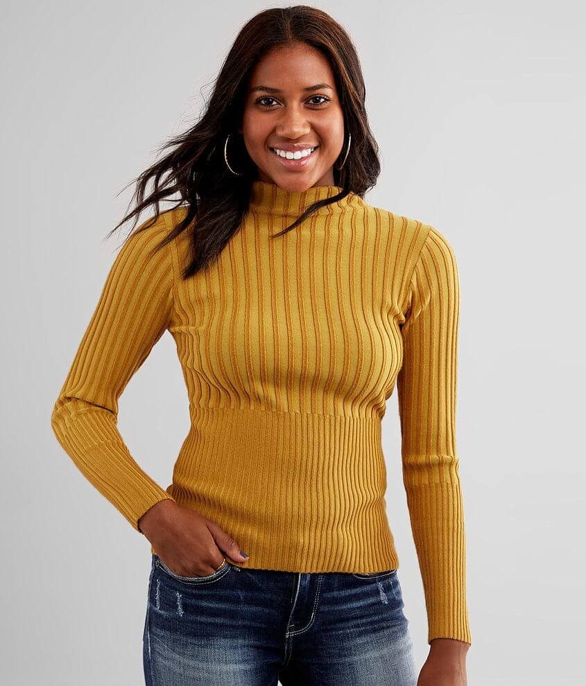 red by BKE Two Tone Ribbed Sweater front view