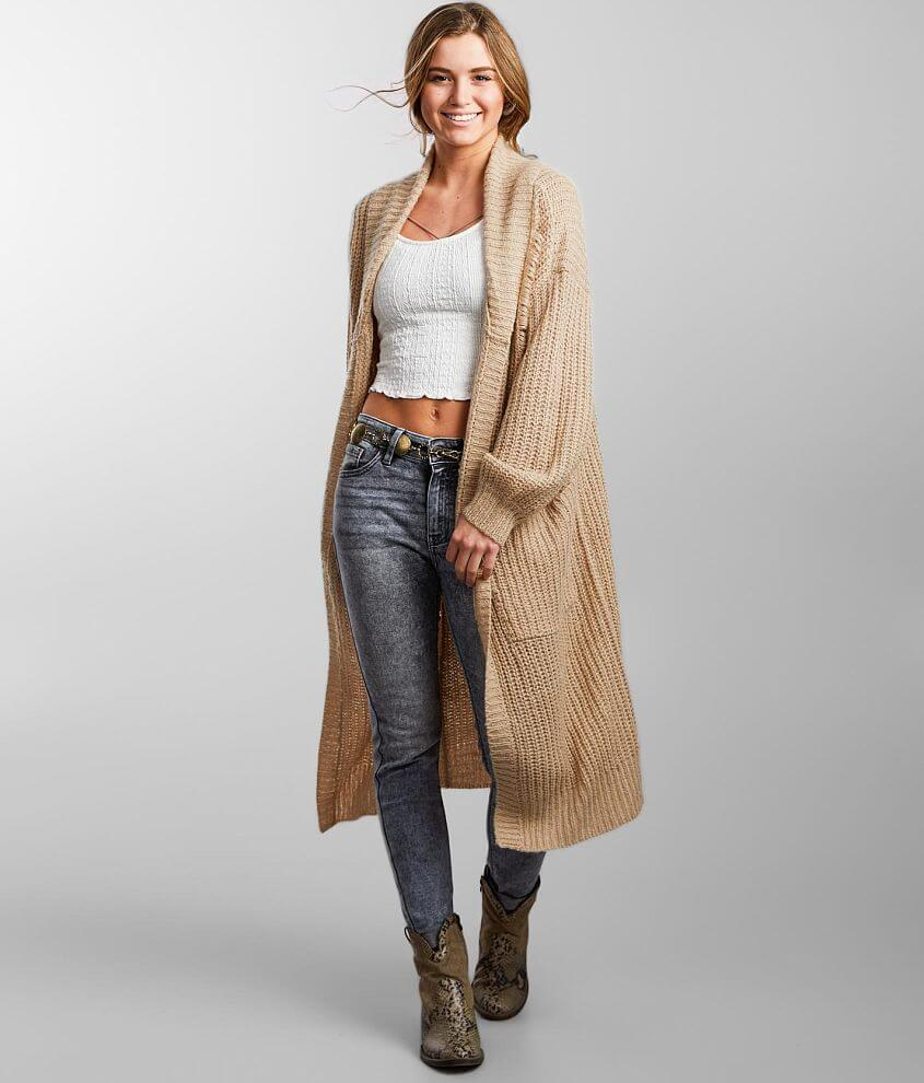 Gilded Intent Destructed Duster Cardigan Sweater front view