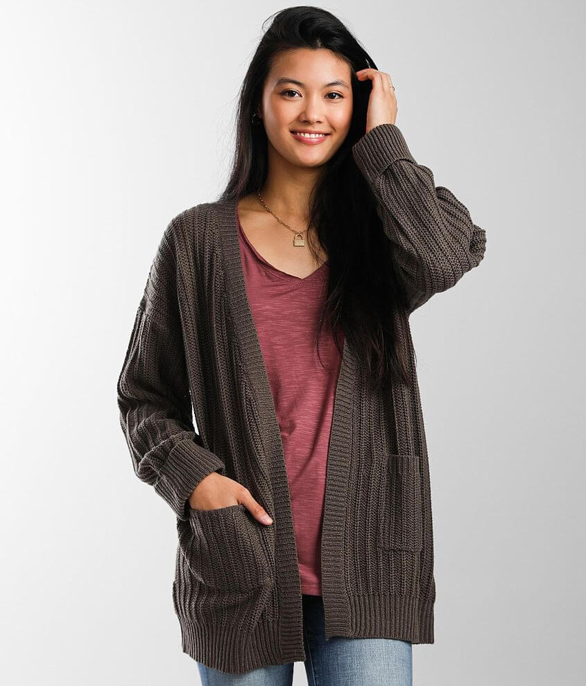Daytrip Ribbed Cardigan Sweater front view