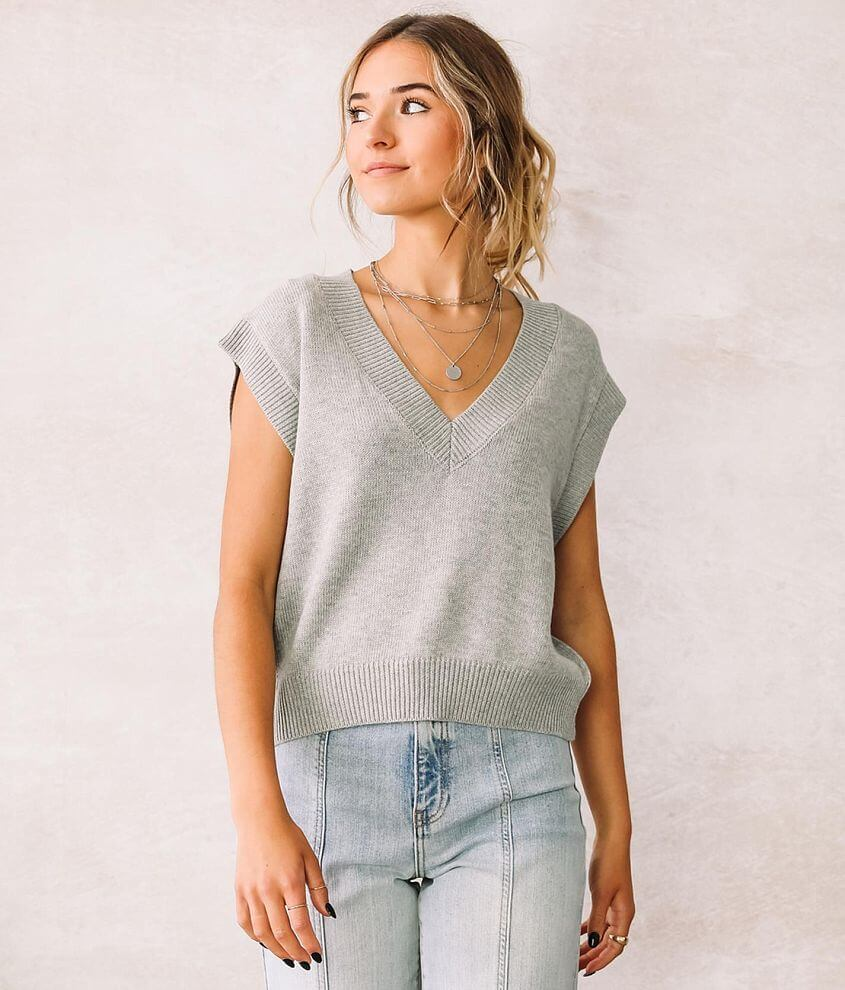 Willow & Root Cropped Sweater Vest front view