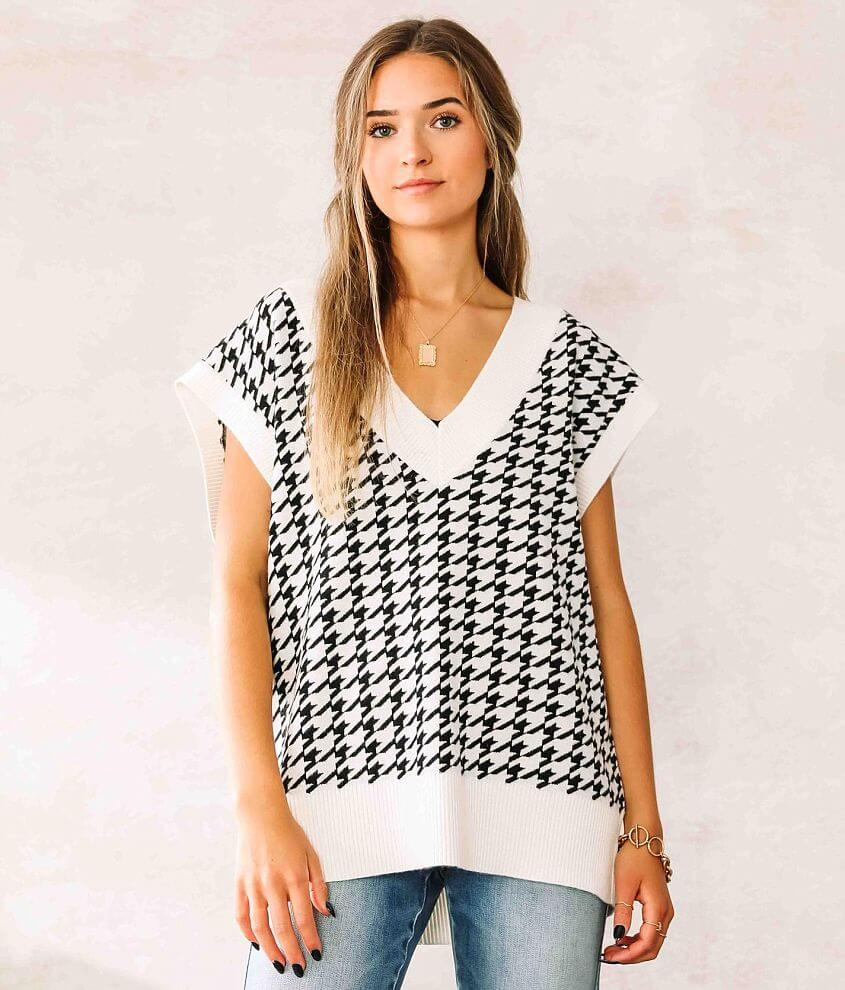 Willow & Root Houndstooth Sweater Vest front view