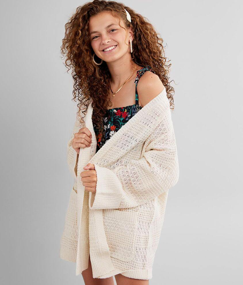 BKE Pocketed Cardigan Sweater front view