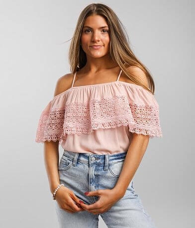 It's Pink Lace Crochet Overlay Cold Shoulder Top