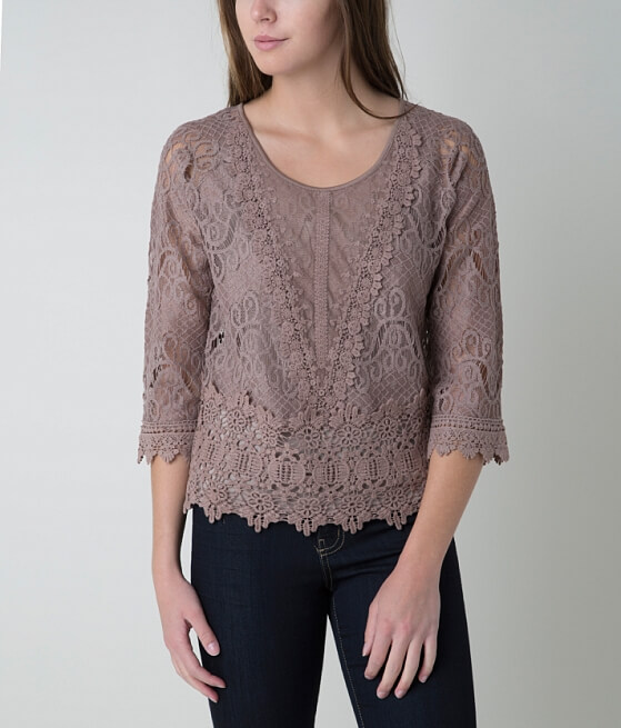 Ultra Pink Lace Top - Women's Shirts/Blouses in Mocha | Buckle
