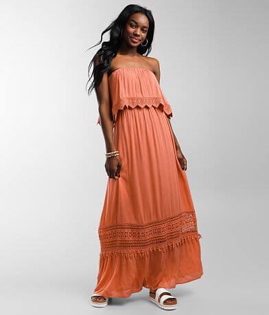 Daytrip Strapless Crochet Maxi Dress