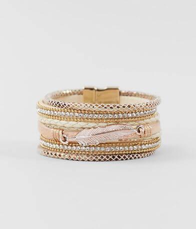 BKE Braided Metallic Leaf Pendant Bracelet