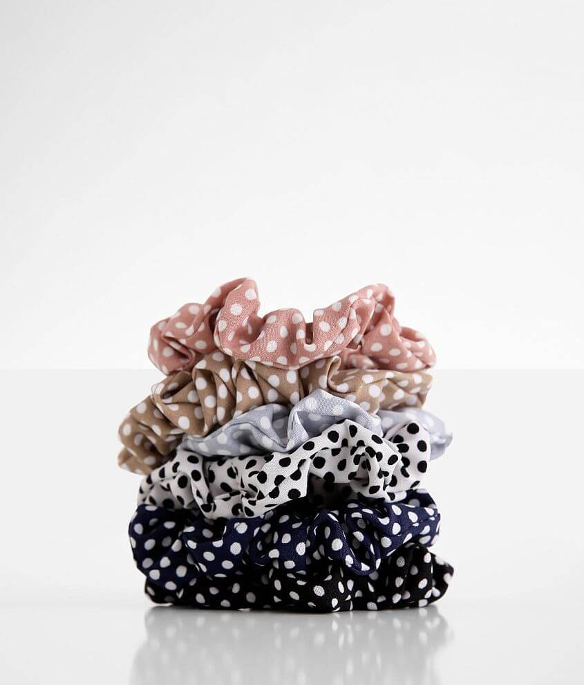 Polka Dot 6 Pack Hair Scrunchies front view