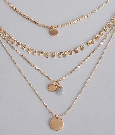 BKE Mixed Metal Disc Necklace