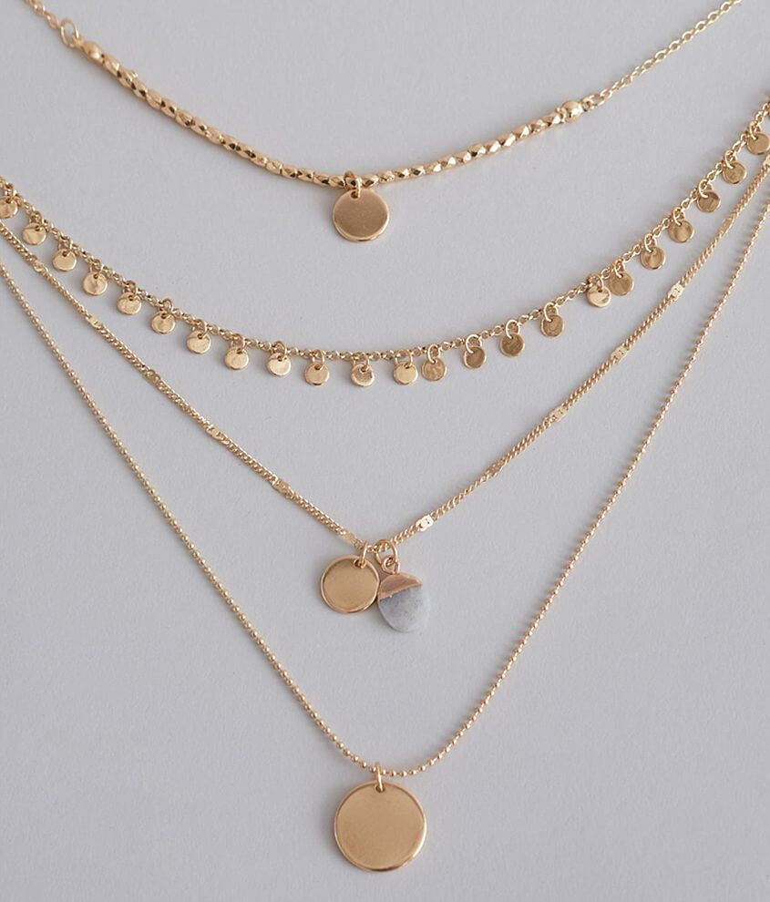 BKE Mixed Metal Disc Necklace front view