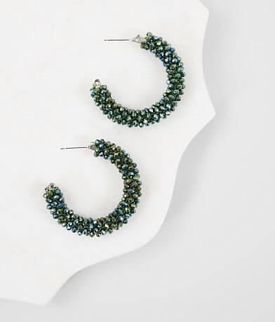 BKE Emerald Beaded Hoop Earring