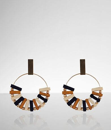 BKE Wood & Metal Hoop Earring