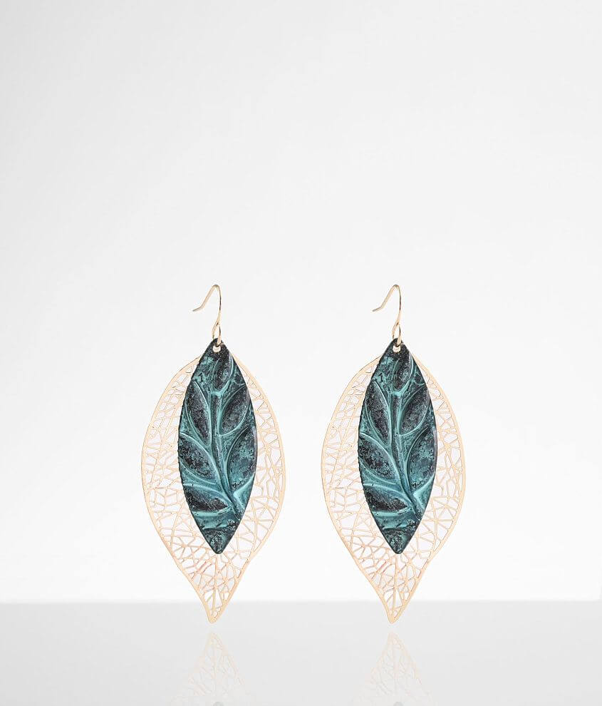 BKE Patina Leaf Earring front view