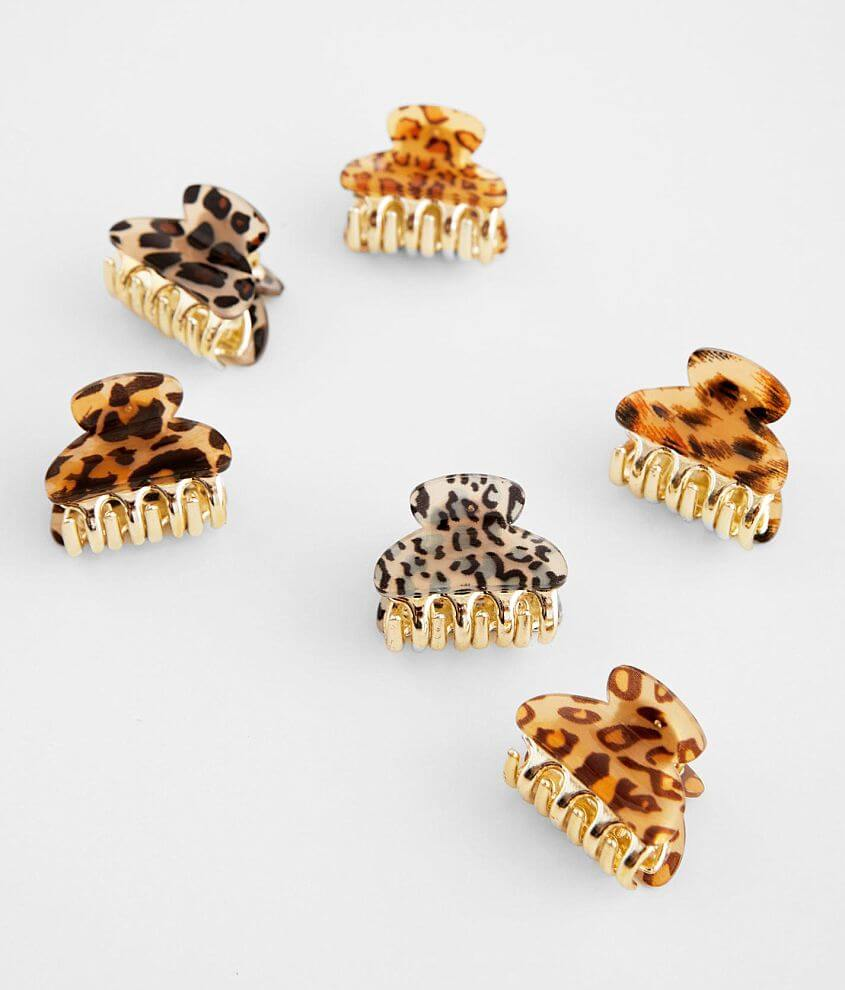 Animal Print 6 Pack Hair Clips front view