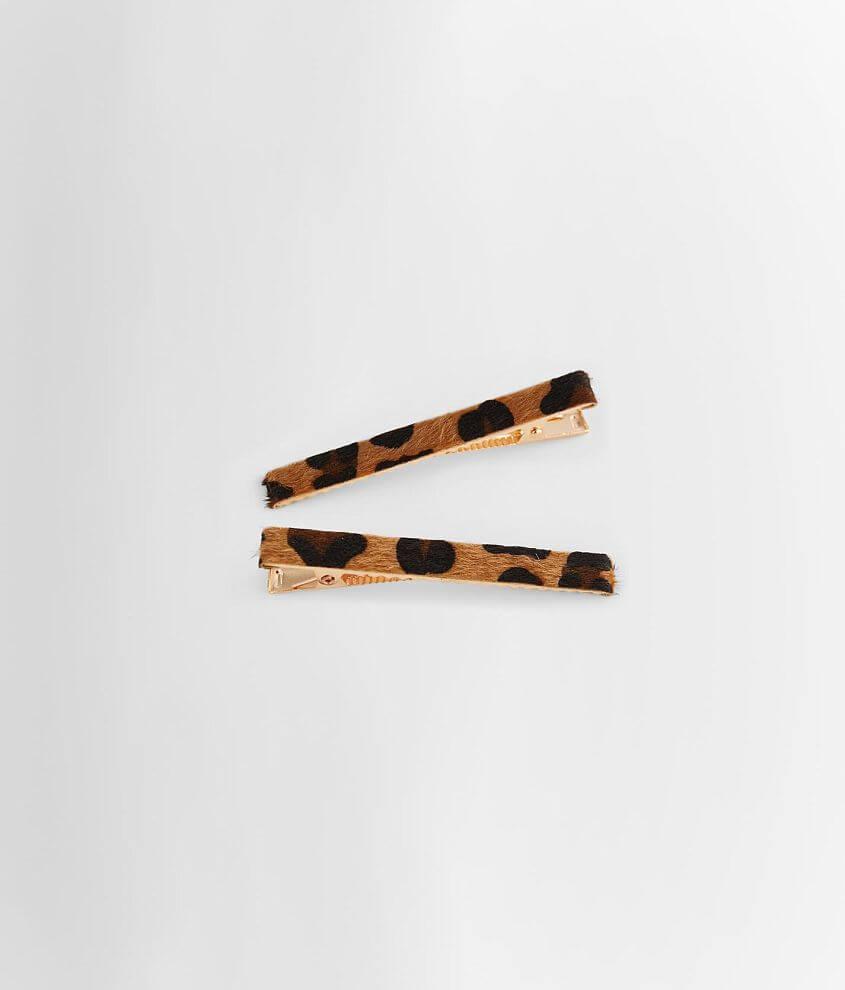 BKE Leopard Faux Fur 2 Pack Hair Clips front view