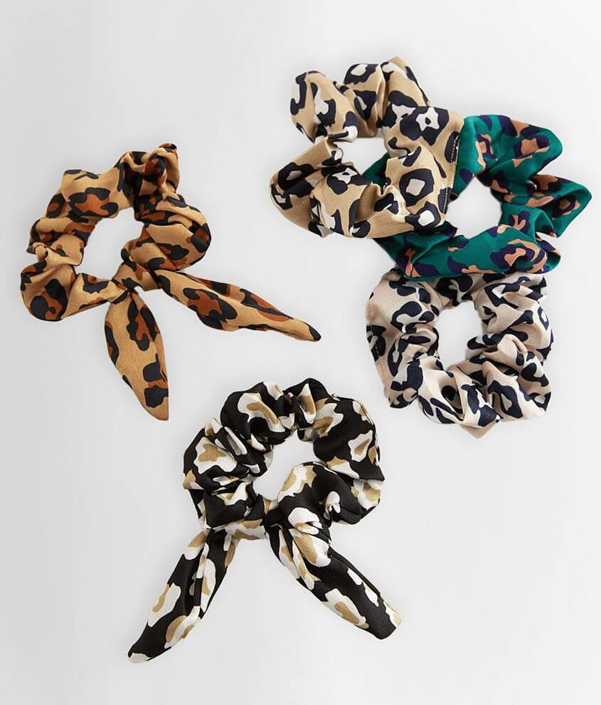 Leopard Print 5 Pack Hair Scrunchies front view