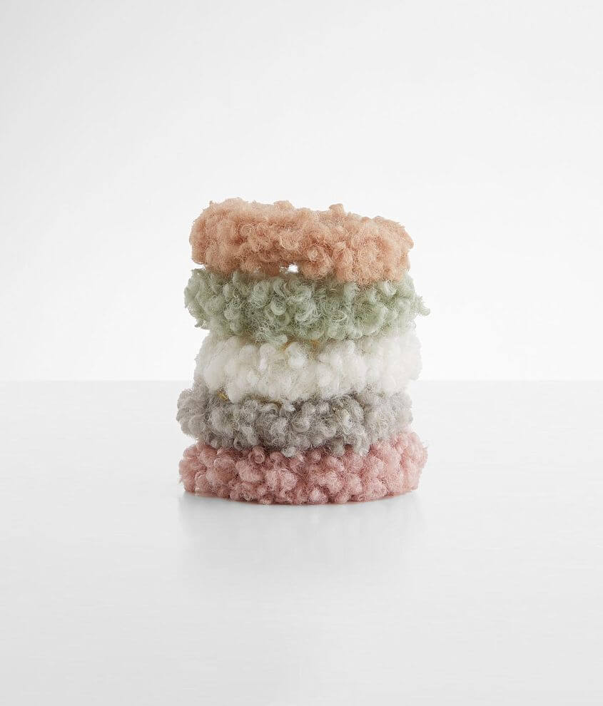 5 Pack Fuzzy Sherpa Hair Scrunchies front view