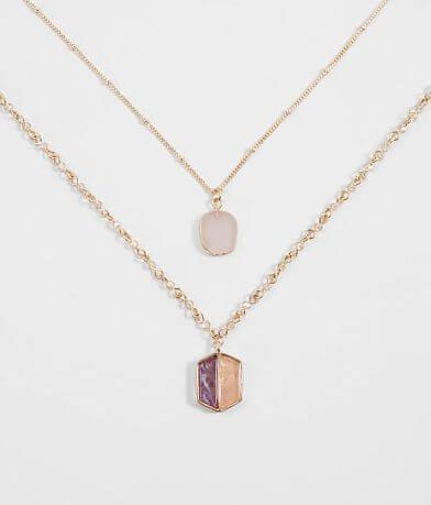 BKE Dainty Stone Necklace Set