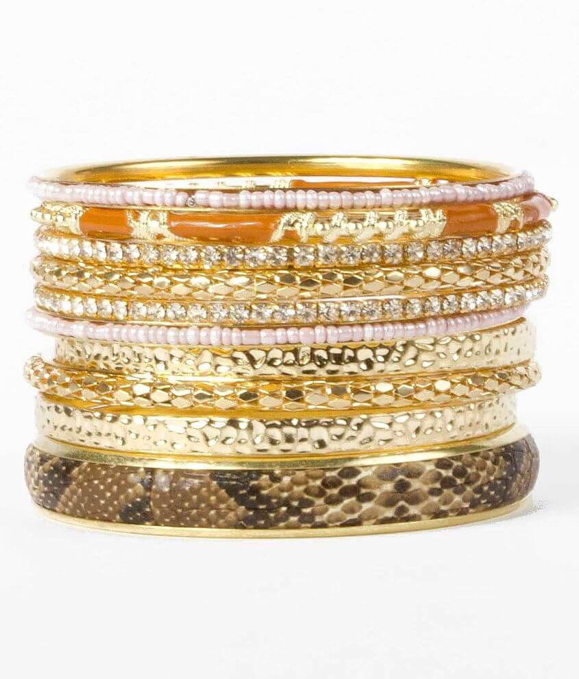 BKE Snakeprint Bangle Bracelet Set front view