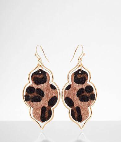 BKE Faux Fur Leopard Drop Earring