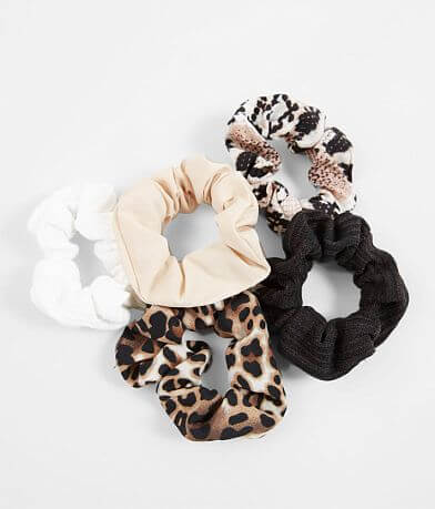 5 Pack Animal Print Hair Scrunchies