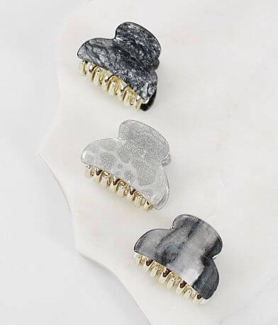 BKE 3 Pack Marble & Glitter Hair Clips