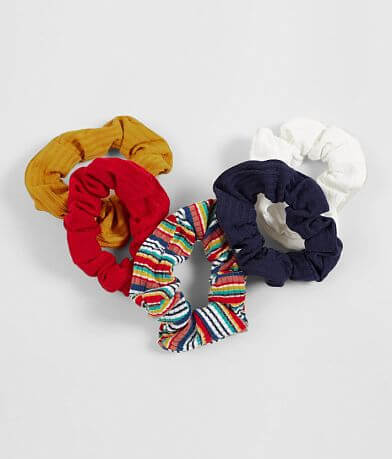 5 Pack Ribbed Hair Scrunchies