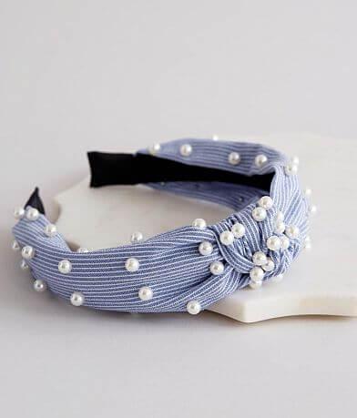 BKE Pinstriped Faux Pearl Headband