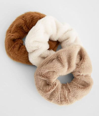 BKE 3 Pack Fuzzy Hair Scrunchies