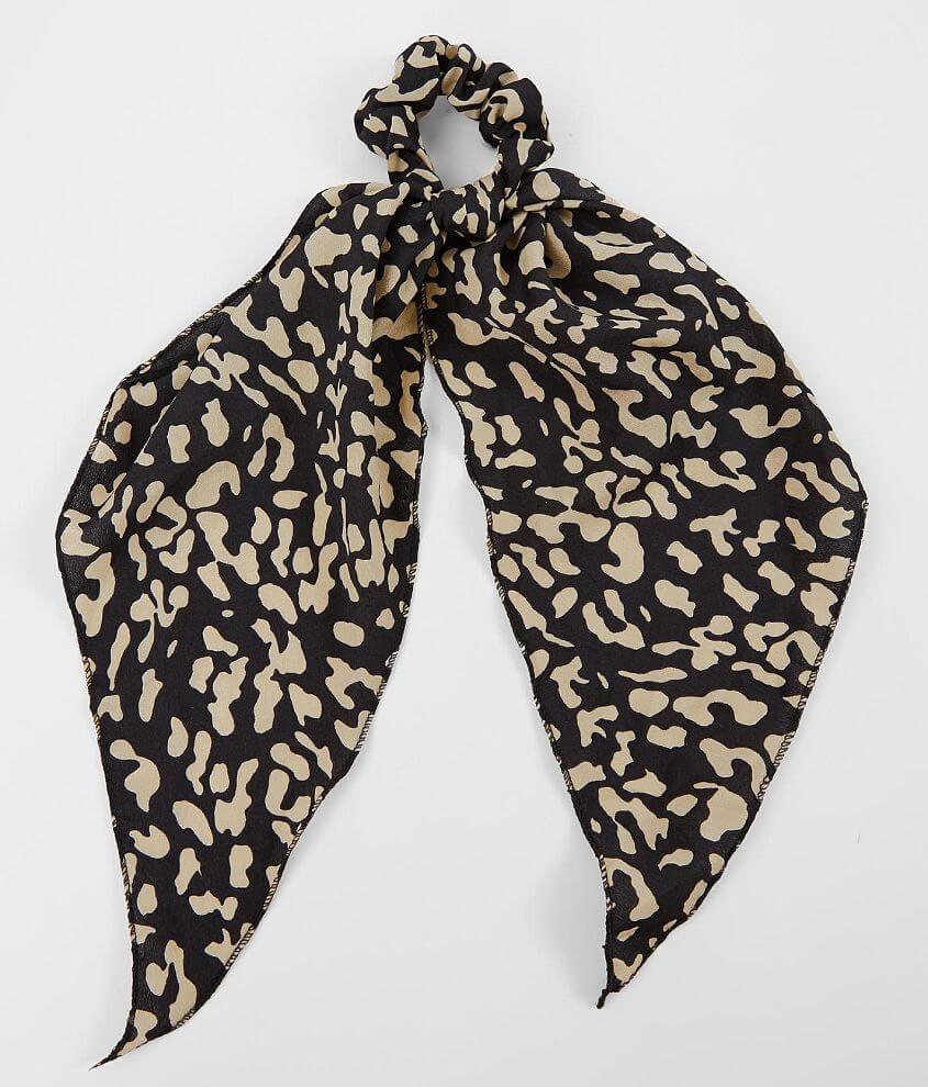 BKE Cheetah Hair Bow Scrunchie front view