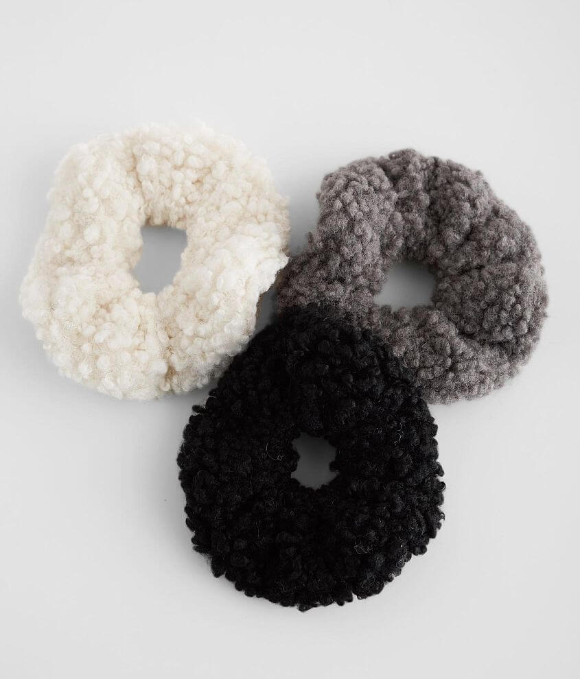 Plush 3 Pack Hair Scrunchies front view