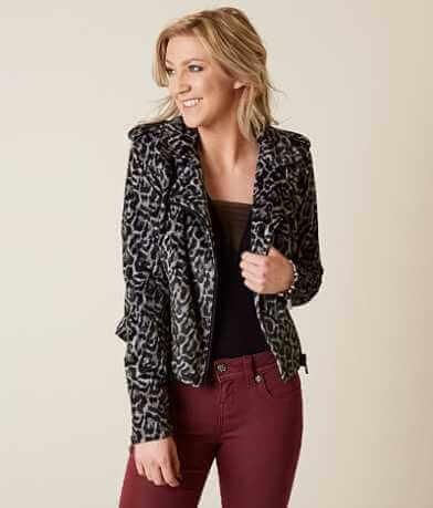 Romeo + Juliet Couture Leopard Moto Jacket
