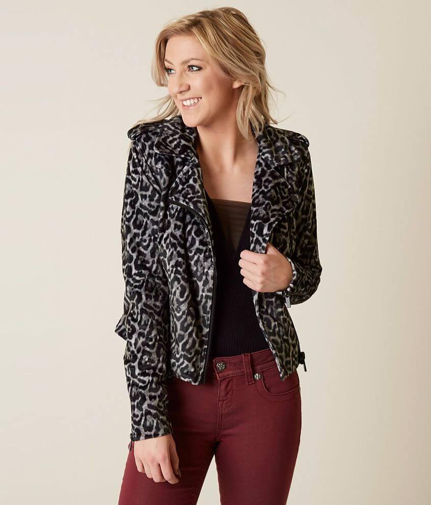 Romeo + Juliet Couture Leopard Moto Jacket - Women s Coats Jackets ... e80474712