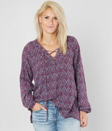 Daytrip Printed Peasant Top