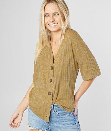 Daytrip Ribbed Button Down V-Neck Top