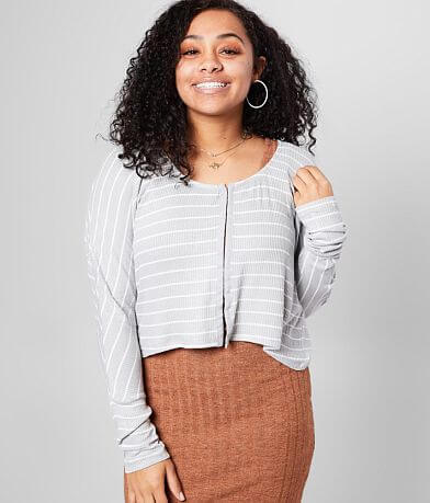 Gilded Intent Striped High Low Hem Cropped Top