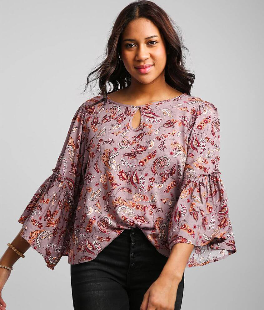 Daytrip Floral Bell Sleeve Keyhole Top front view