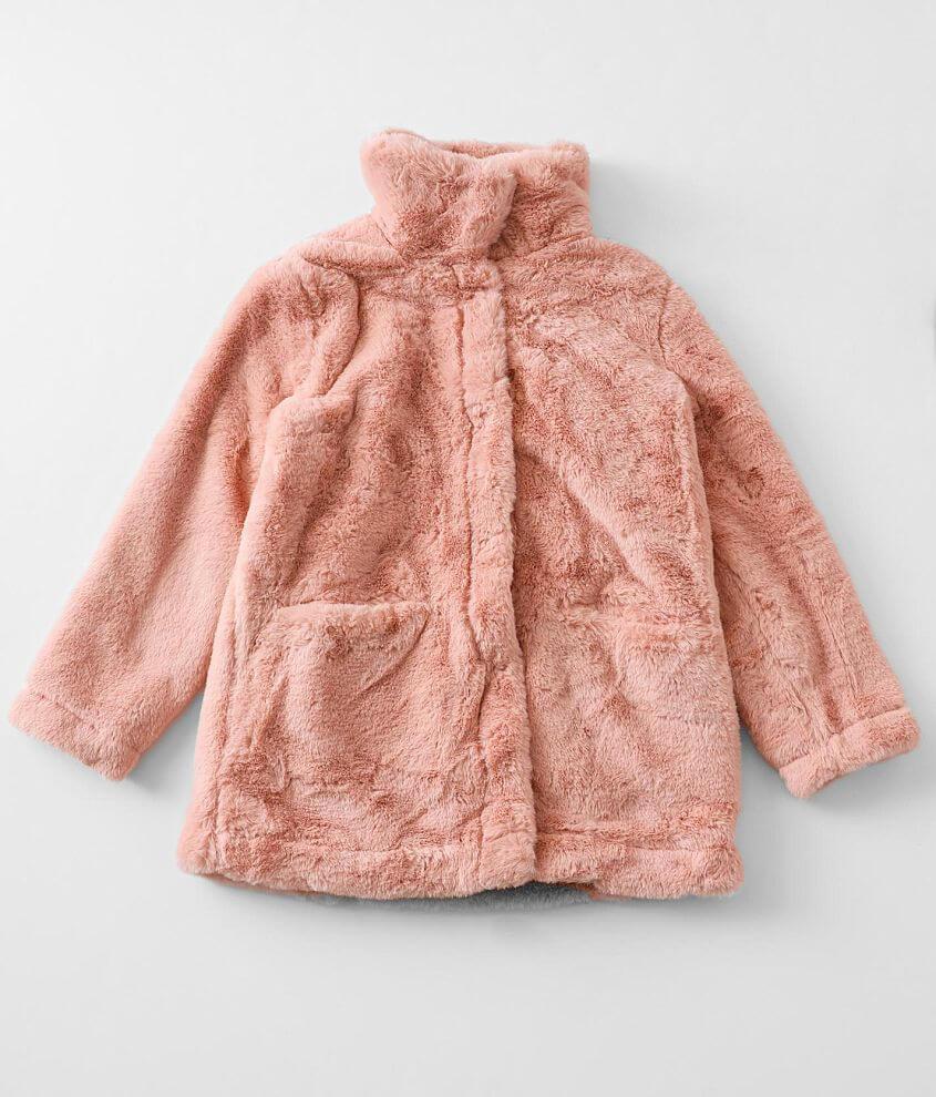 Girls - Urban Republic Rosette Faux Fur Jacket front view