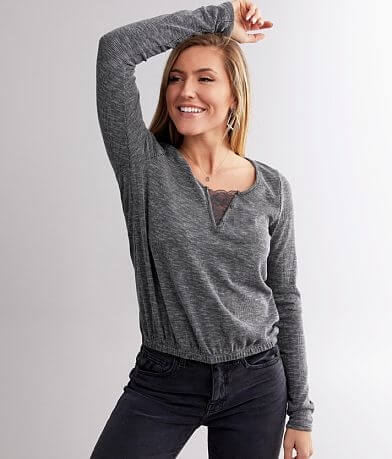 Willow & Root Ribbed Split Neck Top