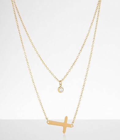 JAECI Tiered Cross Glitz Necklace