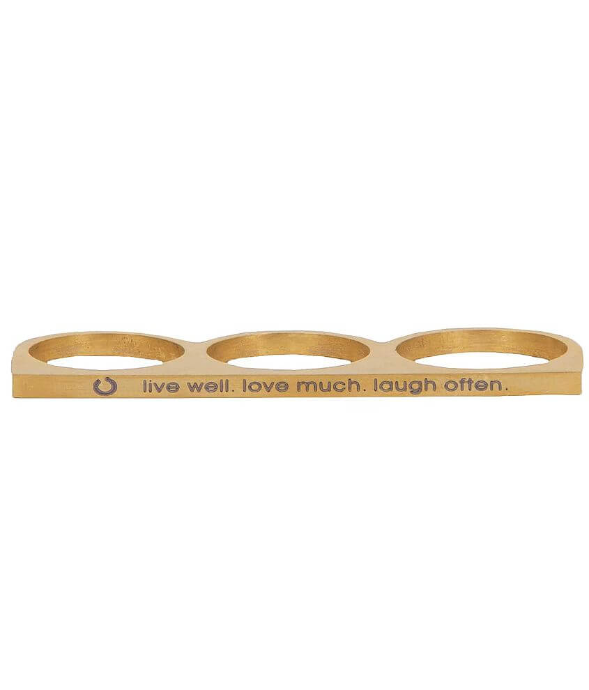 JAECI Live Love Laugh Three Finger Ring front view