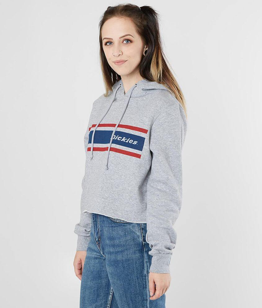 Style 100D0384A/Sku 530533 Heathered graphic cropped raw edge sweatshirt Fleece lining Bust measures 39\\\