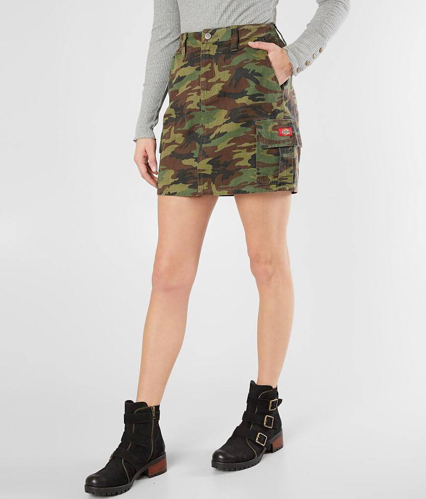 Dickies® Twill Camo Cargo Skirt front view