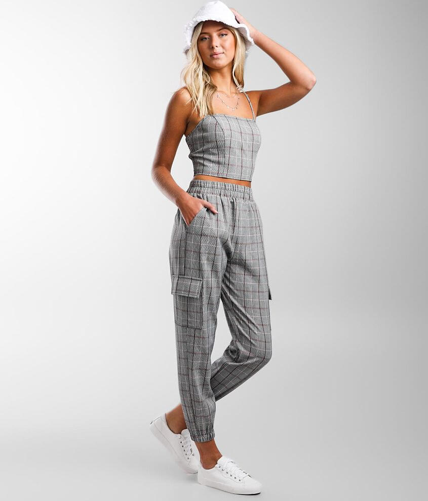 Gilded Intent Plaid Cargo Jogger front view