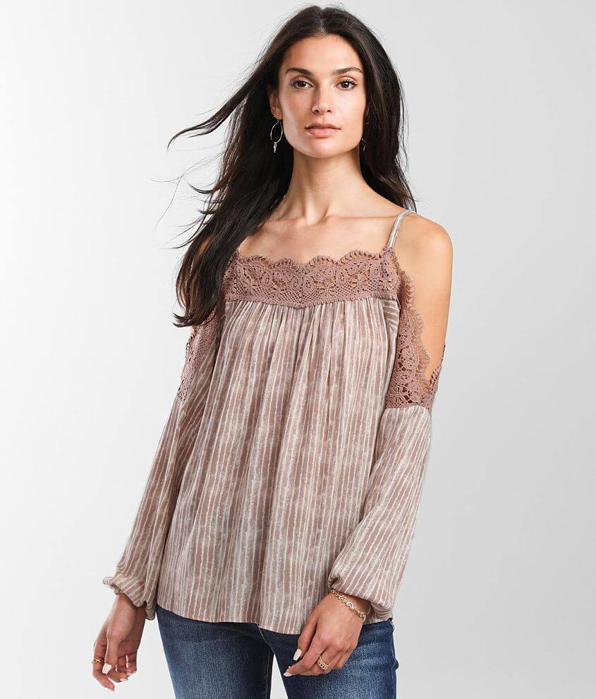 Daytrip Striped Cold Shoulder Top front view