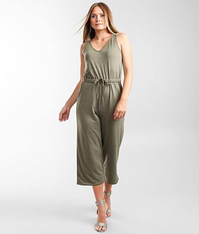 BeBop Marled Knit Wide Leg Jumpsuit