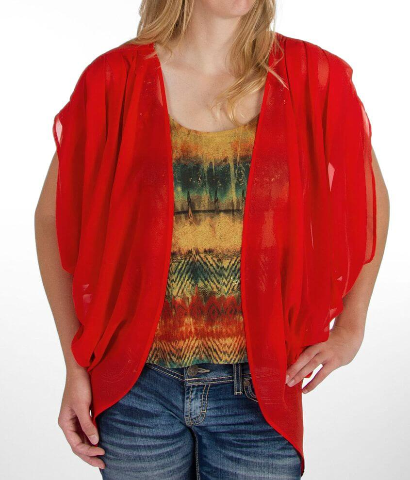 BKE red Chiffon Cardigan front view