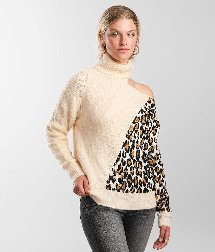 red by BKE Cold Shoulder Cable Knit Sweater front view