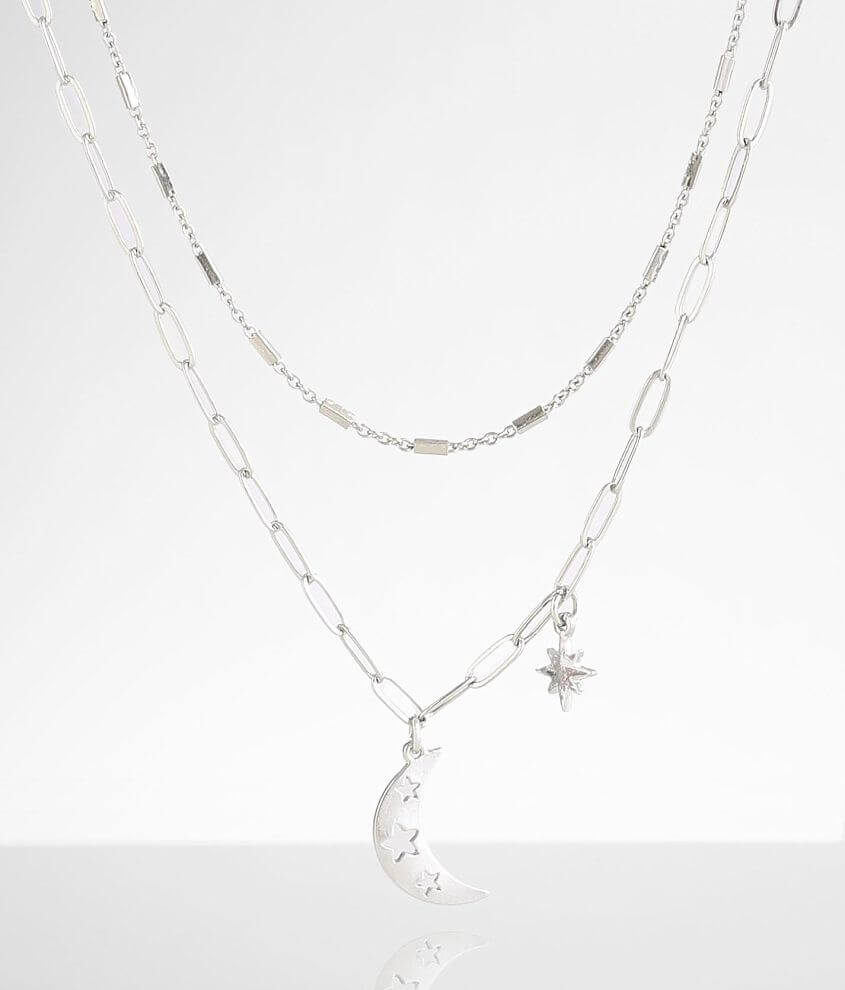 BKE 2 Pack Moon & Star Necklace Set front view