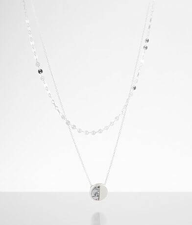 BKE Split Marbled Stone Tiered Necklace